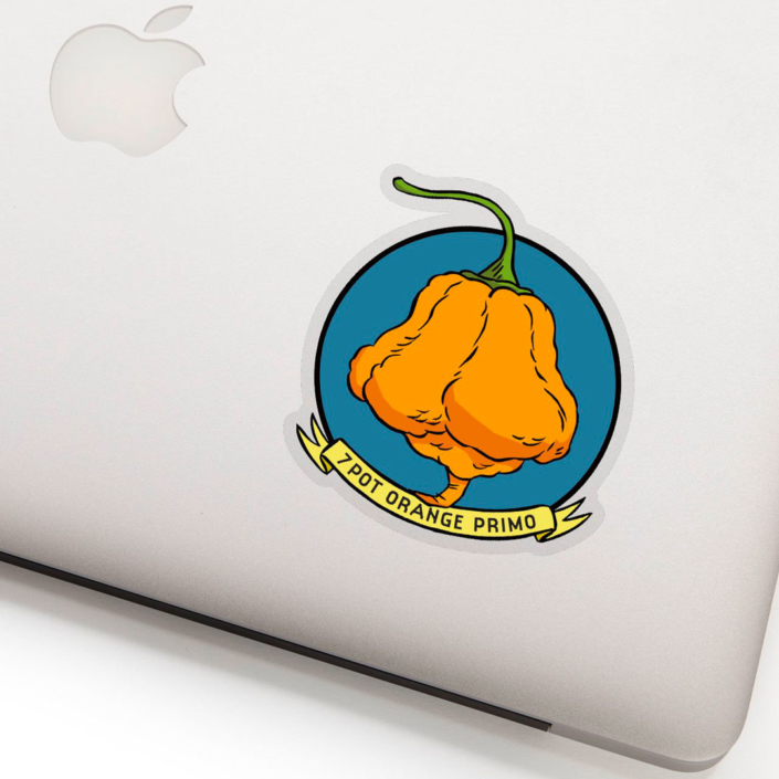 Photo of laptop with 7 Pot Orange Primo Sticker