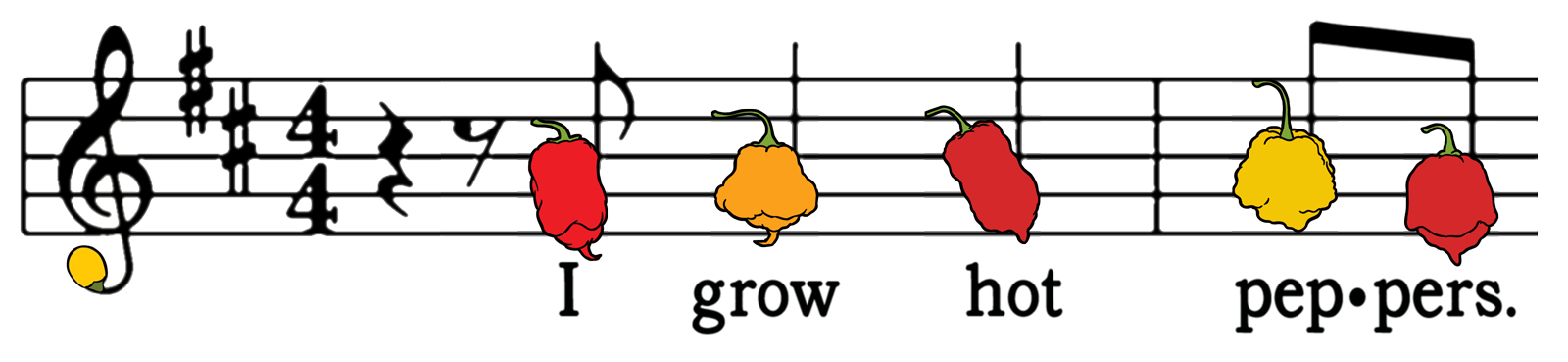 """Musical staff with hot peppers as notes. Below are the words """"I Grow Hot Peppers"""""""