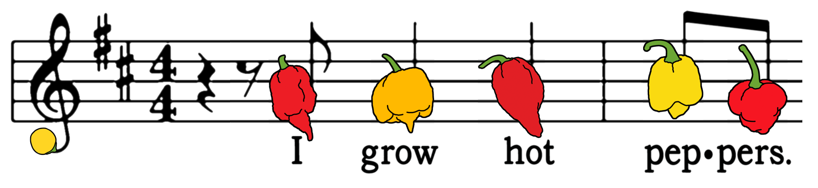 "Musical staff with hot peppers as notes. Below are the words ""I Grow Hot Peppers"""