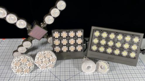 Photo of the full line of SANSI LED grow lights