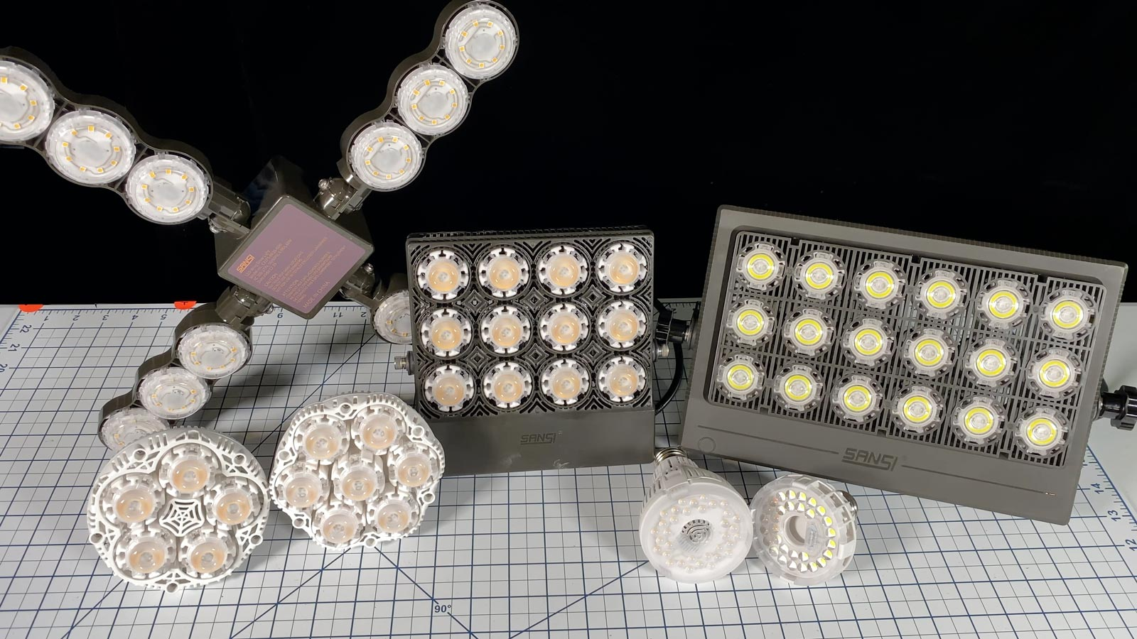 Photo of the full line of SANSI LED grow lights