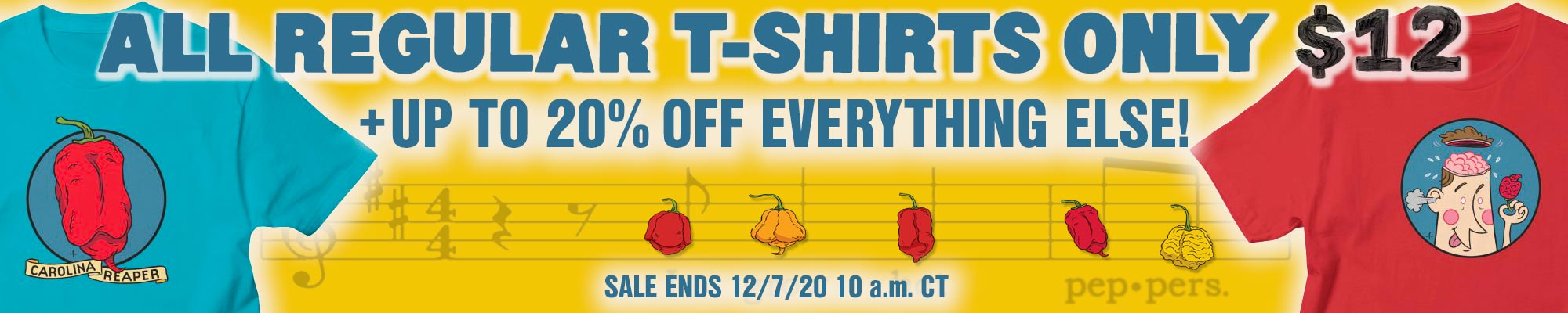 Banner reads: ALL REGULAR T-SHIRTS ONY $12 + UP TO 20% OFF EVERYTHING ELSE